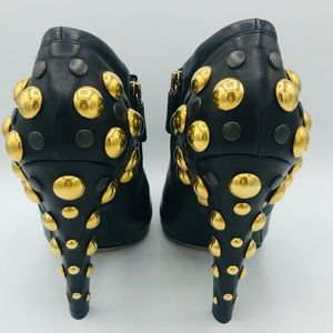 NIB GUCCI GOLD STUDDED BLACK LEATHER BOOTIES